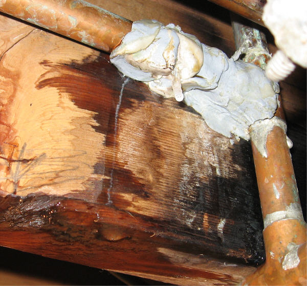 leaking patched pipe